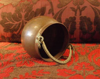 French vintage small copper metal barrel