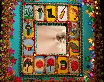 """Upcycled Loteria tile mirror 12"""" x 12"""""""