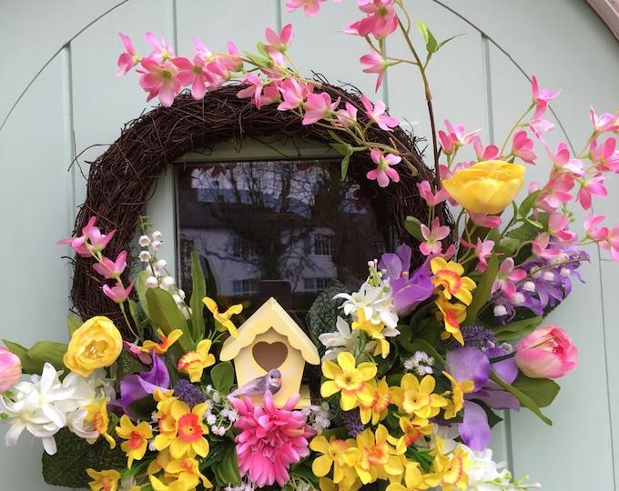 Gorgeous Spring Easter birdhouse door wreath