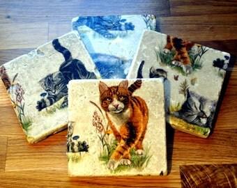Set of Four Cat Natural Stone Coaster