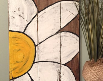 Flower, Pallet Sign, Reclaimed Pallet, Hand-painted Pallet