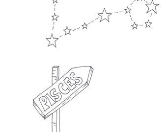Pisces, zodiac sign, zodiac poster, printable poster, stars, astrology, digital art, printable art