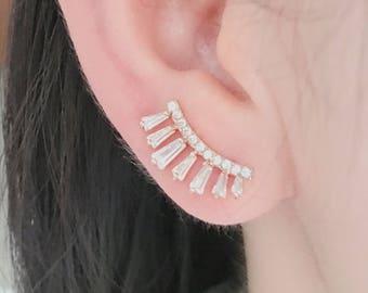 Cubic zirconia earrings, CZ earrings, silver earrings, gold earrings, elegant earrings,  ear climbers, ear crawlers, ear sweeps, ear pins