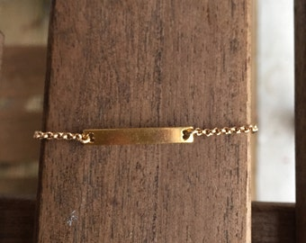 Gold-plated bracelet heart plate