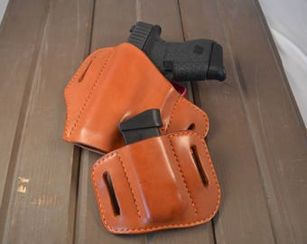 Glock 43 Leather Holster and Mag Pouch Set | Leather Holster | LEFT HANDED | edc | OWB | Handmade | Custom Holster