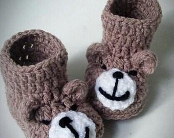 crochet baby bear booties, crochet bear booties, crochet baby animal booties, baby animal booties, crochet booties