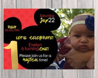Mickey Mouse Birthday Party Invite, Custom Birthday Invite with Photo