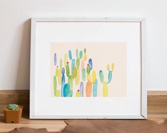 Cactus Art Print   Colorful Wall Art   8x10 Illustration   Home Decor
