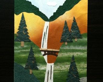 Handmade Origami Oregon Multnomah Waterfall Card