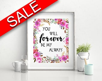 Forever Prints Wall Art Always Digital Download Forever  Instant Download Always Frame And Canvas Available Wedding Love Poster