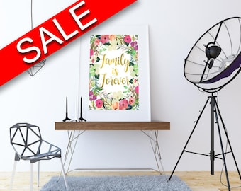 Wall Decor Forever Printable Family Prints Forever Sign Family  Printable Art Forever dorm decor apartment decor family forever floral decor