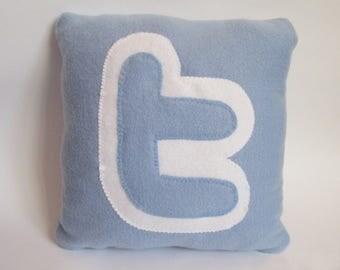 12 x 12 handmade twitter Pillow - handmade pillow - decorative pillow - geekery pillow