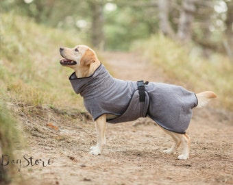 Dog Bathrobe gray / grey - Made to Order - Doggy bathrobe