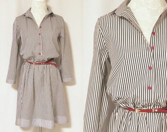 Japanese Style Shirt Dress in m Black & White Bengal Stripe in 100% Cotton, Handmade, Dress, Evening Dress, Weekend, Day n Night [C-1021-2]