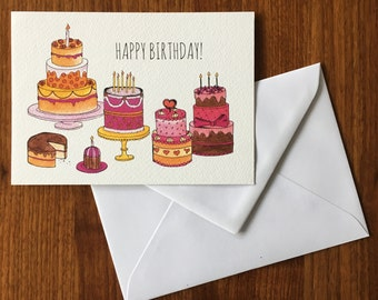 Cakes-birthday-greeting card illustration by Anke van Horne-blank rear-includes envelope