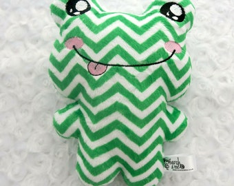 Green chevron print frog soft toy