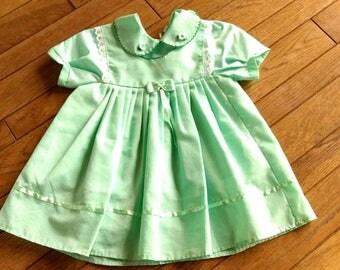 VINTAGE KIDS: 1960s mint green Swiss dot dress