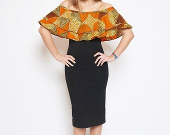 Ati boat neck dress printed wax Passion orange lenadreams