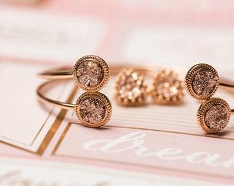 Copper Druzy Double Bangle