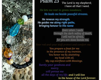 Psalms 23 'The Lord is my Shepherd' glass beaded bangle bracelet
