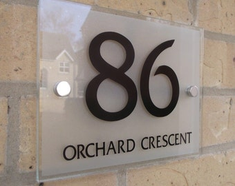 House Number Sign Plaque Modern Frosted Glass Effect