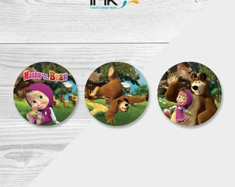 Masha and the Bear Cupcake Toppers - Instant Download - Printable - Masha and the Bear Party - Masha and the Bear Birthday