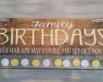 Family birthday board, family celebrations sign, hand painted wood sign, family sign, family birthday sign