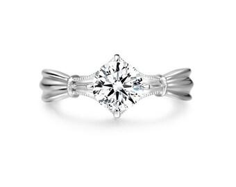 Unique Moissanite Engagement Ring in 14k White Gold, Diamond Alternative engagement ring