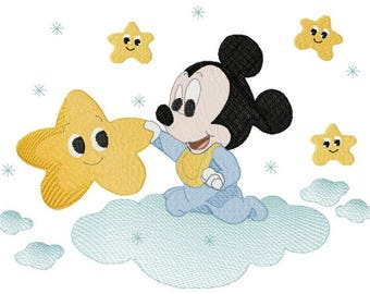 Mickey Mouse out of puff to embroider on fitted sheet and/or cover