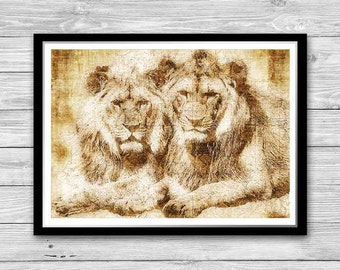 Lions print, Archival art print with style of old geographic maps, Lions Art Print, Vintage decor, Lion Wall Art, Office decor, Lion King