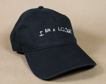 I AM A LOSER Black Pink White Dad Hat Dad Cap Baseball Hat Baseball Cap Embroidered Low Profile Casquette Strap Back Adjustable Cotton