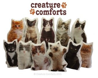 Cat Shaped Cushion, Handmade in the UK by Creature Comforts, Tabby, Bombay, Persian, Siamese, Ginger...