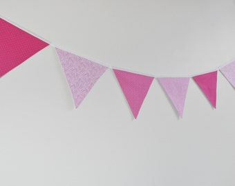 Fabric Baby Bunting, Pink Fabric Flag Bunting, Pink Nursery Bunting Wall Decor, Banner, Baby Shower, Birthday Party, Baby Girl - extra long