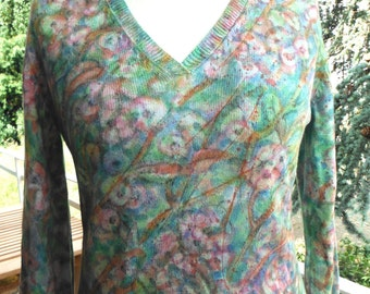 """Exclusive free hand be painting on finished sweater """"flowering branches. Spring""""."""