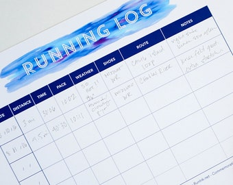 Running Log Chart Printable Diary