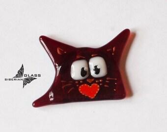 Handmade glass Magnet on the fridge Funny cat, fused glass magnet