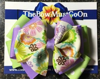 Pastel Hair Bows/Floral Bows/Small Hair Bows/Purple Bows/Green Bows/Spring Bows/Small Floral Hair Bow/Pastel Bows/Pastel Hair Bows