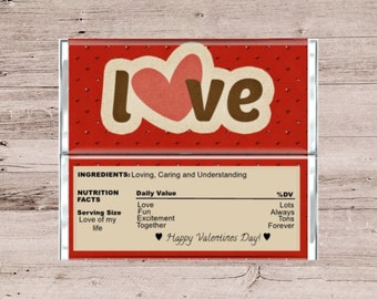 Valentines Candy Bar Wrapper-Valentines Chocolate Bar Wrapper-Candy Bar Wrapper-Chocolate Bar Wrapper-Red Glitter Hearts-Love Wrapper