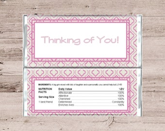 Pink and Gray Thinking of You Candy Wrapper-Best Friend Chocolate Wrapper-Friend Candy Wrapper-Friend Chocolate Wrapper-Candy Bar Wrapper