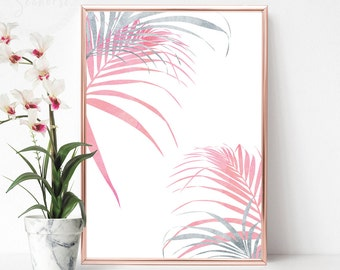 Female Bedroom Art, Tropical Leaf Print, Printable Palm Leaf, Silver and Pink Palm Leaf Art Print, Decor Above Bed, Palm Leaf Wall Decor