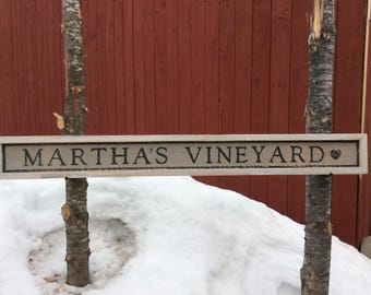 Martha's Vineyard wood sign with frame