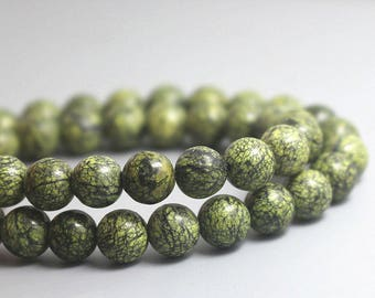 8 mm Russian Serpentine Gemstone Loose Beads Round Serpentine  Full Strand