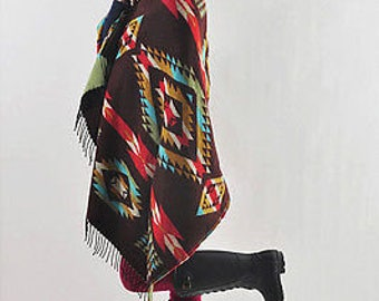 Women Bohemian Collar Plaid Cape Cloak Poncho Wool Blend Shawl Scarf