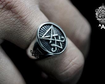 Sigil of Lucifer ring,Sterling Silver 925 Black oxidize.