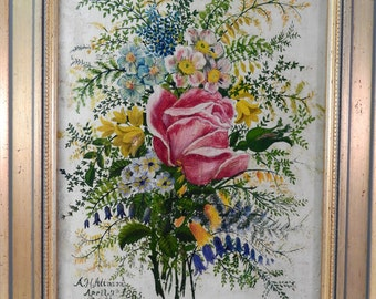 Life style,A.H.Alinson, anttique miniature,oil on canvas, signed,dated April 1865,gilt framed