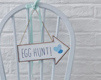 Easter Egg Hunt Arrow - Blue & White - Party Sign