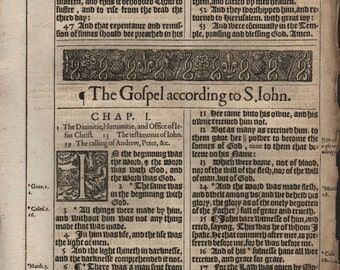 "1617 King James Bible folio Leaf JOHN 1 ""In the beginning was the Word"""
