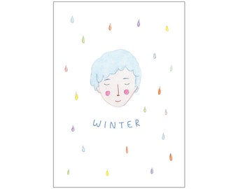 Winter postcard print: seasons series
