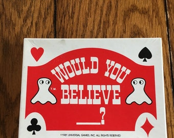 Would you believe ------? Vintage card game.