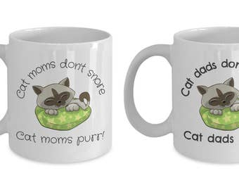 Mug Combo: Cat Moms / Cat Dads Don't Snore! Cat Moms / Cat Dads Purr! - Funny Mug Combo for Cat Parents